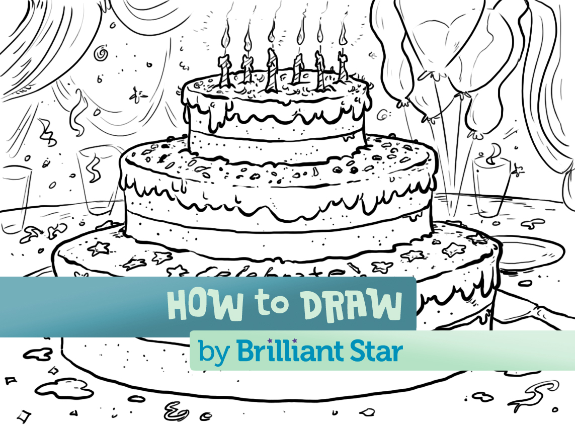 How To Draw A Party Cake Brilliant Star